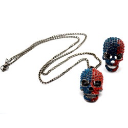 New Fashion Korea Style gun black metal hollow out rhinestone skull necklace ring set S-0002