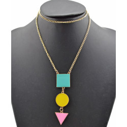 New Fashion Gold Plated Alloy Colorful Enamel Square Round Triangel Geometry Pendant Necklace N-4762
