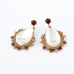 Fashion European Style Gold Plated Alloy Rhinestone Clear Crystal Drop Ear Stud E-0269