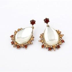 Fashion European Style Gold Plated Alloy Rhinestone Clear Crystal Drop Ear Stud E-0269