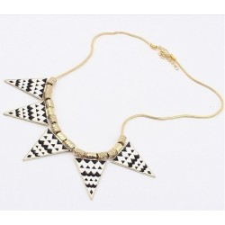 European Vintage Style Gold Plated Alloy Enamel Black/White Wave Triangle Pendant Snake Chain Necklace  N-4757