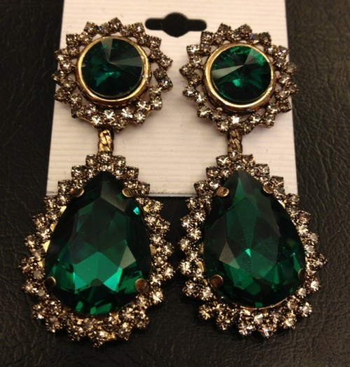 New Fashion Charming European Gold Plated Alloy Rhinestone Green Crystal Drop Pendant Necklace earring set N-2281  E-0279-GR