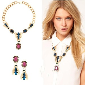 fashion Style Gold Plated Alloy link chain rhinestone insect crystal flower Necklace earring set S-0001