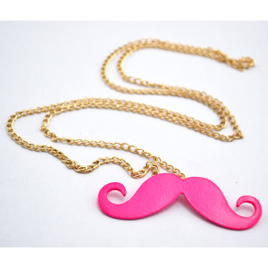 New  Plated Alloy Enamel  Mustache Gold Chain Necklace N-2895