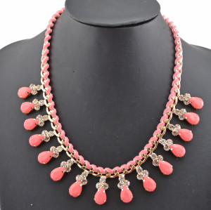 Fashion Style Gold plated Rhinestone  Rope Faux Gem Drop Choker Statement Necklace N-0277