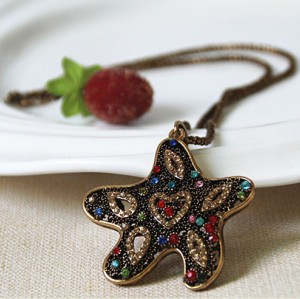 New Charming Korean Vintage Style Gold Plated Alloy Beads Chain Colorful Rhinestone Hollow Out Starfish Pendant Necklace N-3378
