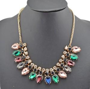 New Arrival Charming Fashion Gold Metal Rhinestone Faux Gem Crystal Drop Choker Necklace N-0263