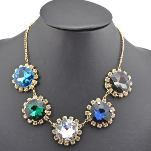 New Arrival European Style Gold Plated Crystal Round Flower Rhinestone  Choker Pendant Necklace N-0056