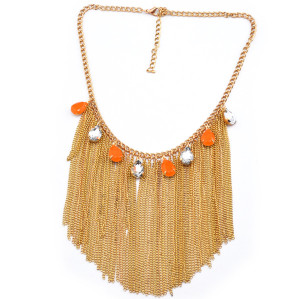 2013 Charming Gold Plated Metal Faux Gem Crystal Drop Tassels Choker Necklace N-1011