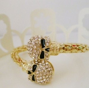 B-0164 Fashion Gun Black Gold Plated Alloy Rhinestone Skull Adjustable Bangle Bracelet