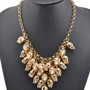 New Arrival Fashion Gold Plated Alloy Multilayer Skull Head Choker Necklace N-1848