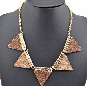 New Arrival Fashion Gold Plated Alloy geometry paillette triangle Choker Necklace N-4751