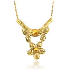 European Fashion Vintage Gold Rhinestone Big Flower Pendant Choker Necklace N-1781