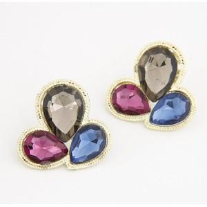 Fashion European Gold  Metal  Crystal Drop Flower Ear Stud E-0220