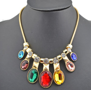 2013 New Arrival Charming Gold Plated Alloy 5Colors Option Crystal Choker Necklace N-0261