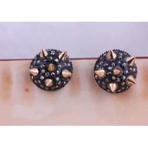 Fashion European Punk Half Ball Black Rhinestone Gold Rivet Ear Stud E-0023