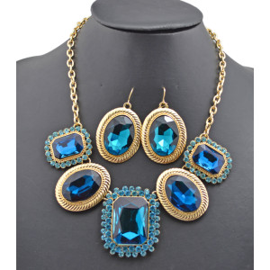 New Arrival Charming Gold Plated Metal Rhinestone Crystal flower Choker Necklace Earring Set 6colors N-0283
