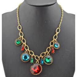 New Charming European Style Fashion Gold Metal Round Crystal Flower Pendant Necklace N-0265