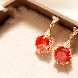 Fashion European Angle Drop Red/Clear Transparent Gem Dangle Ear Stud earring E-1108