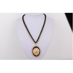 New European Style Bold Plated Alloy Black Velvet Chain Solid Lion Head Choker Necklace N-3278