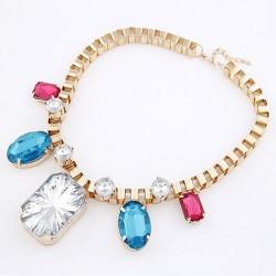 New Charming Korea Style Gold Plated Alloy Gem Rhinestone Geometry Choker Necklace N-4260