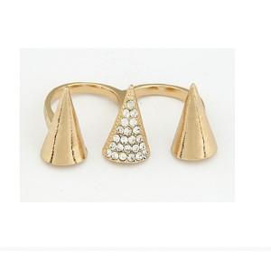 New Arrival Fashion Punk Golden Rhinestone Rivet Double Finger Ring R-0146