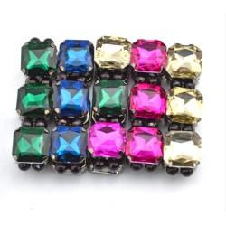 Fashion European Charming Gun Black Metal Square Crystal Bracelet Bangle B-0070