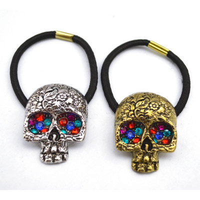 Vintage Style bronze/Silver Alloy colorful rhinestone eye Carving skull  Hair Band F-0077