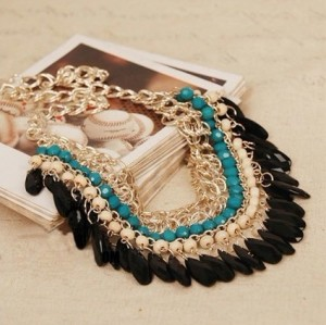 Fashion gold plated Layered  Gems Wood Beads tassels  Bib Chocker Necklaces N-0151