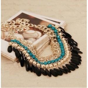 Fashion gold plated Layered  Gems Wood Beads tassels  Bib Chocker Necklaces N-0151