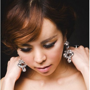 New European Style Silver Plated Clear/Black  Crystal Flower  Earring E-0619