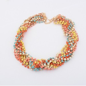 Fashion bohemina gold plated multilayer  colorful rhinestone Gems ear of wheat Chocker Necklaces N-1055