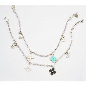 New Fashion Silver Plated glazed Clover bracelet B-0052