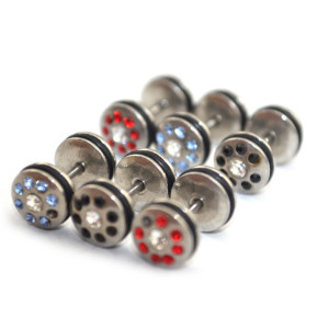 I-0051 Wholesale 12PCS Rhinestone Wheel Nipple Tongue Barbells Ear Pricing