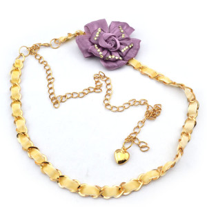 Fashion Charming Gold Metal Rhinestone Purple Flower  Long Waist Chain N-1346
