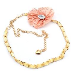 Fashion Charming Gold Metal Crystal Pink Yarn Bowknot  Long Waist Chain N-1347