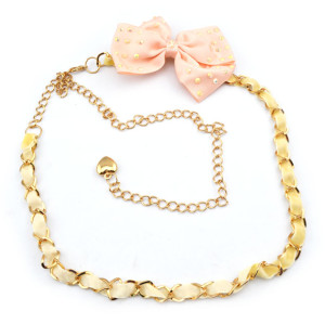 Fashion Charming Gold Metal Silk Pink Bowknot  Long Waist Chain N-1348