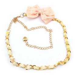 Fashion Charming Gold Metal Silk Pink Bowknot  Long Waist Chain N-1348