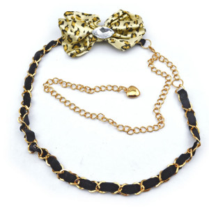 Fashion Charming Gold Metal Black Silk Chain Leopard Bowknot  Crystal Long Waist Chain N-1349