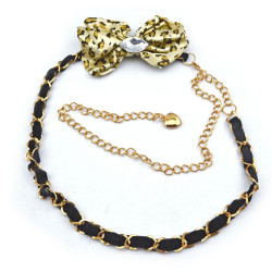 Fashion Charming Gold Metal Black Silk Chain Leopard Bowknot  Crystal Long Waist Chain N-1349