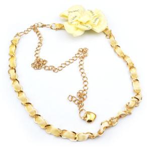 Fashion Charming Gold Metal Cream Silk Flower Rhinestone Long Waist Chain N-1350