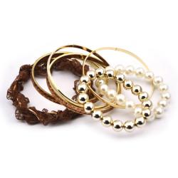 Fashion European gold plated metal lace pearl beads Bracelet Bangle set B-0276