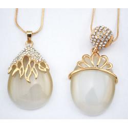 Fashion Charming Gold Metal Lovely Rhinestone Cat Eye Drop Crown Pendant Necklace N-0577