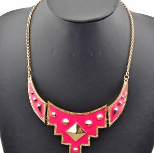 Fashion European Punk Gold Metal Enamel Geometry Rivet Choker Necklace N-1352