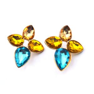 Fashion European Golden Metal Crystal Drop Flower Pin Brooch P-0097
