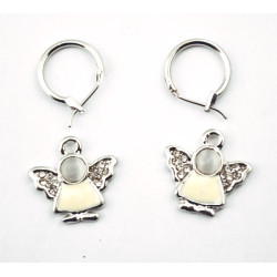 Fashion Lovely Charming Rhinestone Silver Metal Angle Earrings Ear Stud E-1061