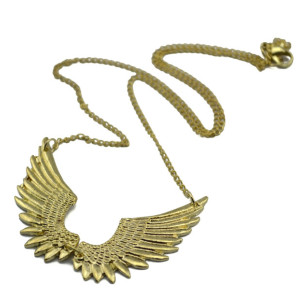 Fashion Lovely Gold Metal Angle Feather Wing Pendant Necklace N-2899-0