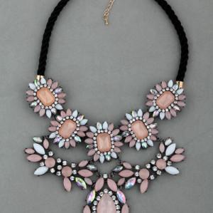 European Style Vintage Gold Rhinestone Sakura Pink Gem Rope Chain Choker Necklace Earring   S-0033