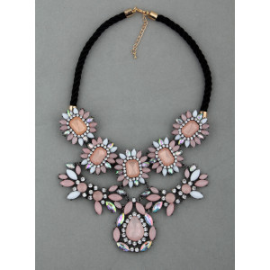 European Style Vintage Gold Rhinestone Sakura Pink Gem Rope Chain Choker Necklace Earring   S-0033