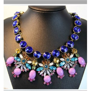 New European Style Vintage Gold Vintage Bronze Alloy Blue Green Crystal Purple Resin Flower Choker Necklace N-0153